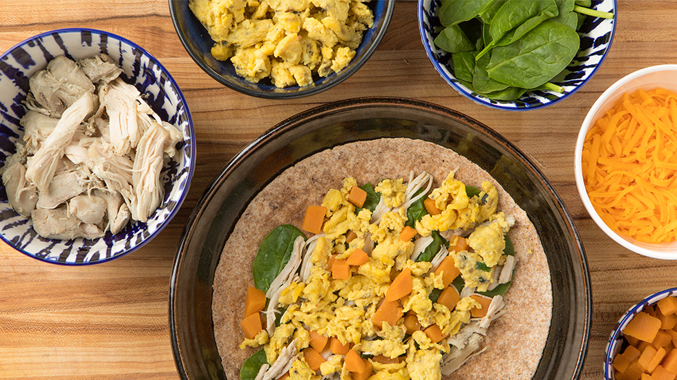 Leftover Turkey, Sweet Potato and Scrambled Egg Wrap